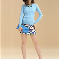 Sweater Slim Female Short Neck Pullover Pure Cashmere Solid - Blue