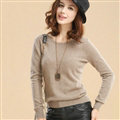 Sweater Slim Female Short Neck Pullover Pure Cashmere Solid - Coffee