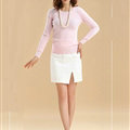 Sweater Slim Female Short Neck Pullover Pure Cashmere Solid - Pink