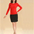 Sweater Slim Female Short Neck Pullover Pure Cashmere Solid - Red