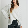 Sweater Solid Women V Collar Shoulder Sleeve Long Loose Fitting - White