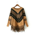 Sweater Special Winter Cotton Thick Patchwork Women Tassel Explosion - Coffee