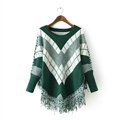 Sweater Special Winter Cotton Thick Patchwork Women Tassel Explosion - Green