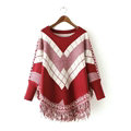 Sweater Special Winter Cotton Thick Patchwork Women Tassel Explosion - Red