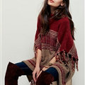 Sweater Tassel Fringe Batwing Sleeve Turtleneck Thick Loose Female - Red