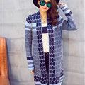 Sweater Temperament Ladies Cardigan Coat Long Open Stitch Flat Knitted Fashion - Blue