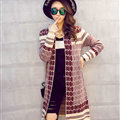 Sweater Temperament Ladies Cardigan Coat Long Open Stitch Flat Knitted Fashion - Red