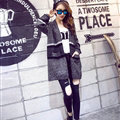 Sweater Winter Street Female Fashion Cardigan Coat Long Thick Warm - Black