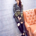 Sweater Winter Street Female Fashion Cardigan Coat Long Thick Warm - Green