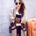 Sweater Winter Street Female Fashion Cardigan Coat Long Thick Warm - Khaki