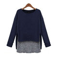 Sweater Women Fashion Casual Cotton Fake Two Knitted - Blue
