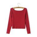 Sweater Women Knitwear Casual Long Sleeved Slim Shoulder Padding - Red