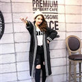 Sweater Women Street Fashion Cardigan Coat Cardigans Jacquard Thick Warm - Black