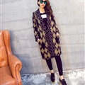 Temperament Winter Sweater Cardigan Coat Female Long Thick Warm - Black Khaki
