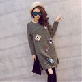 Winter Dresses Character Fashion Embroidery Female Warm Long Tassel - Green