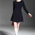Winter Dresses Dot Velour Knee-Length A-Line Full Sleeve O-Neck - Black