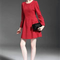 Winter Dresses Dot Velour Knee-Length A-Line Full Sleeve O-Neck - Red