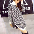 Winter Dresses Downneck Knee-Length Female Striped Personality Split Slim - White