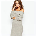 Winter Dresses Sexy Brief Straight Natural Waistline Slash Neck Woolen Female Knitted - Grey