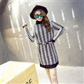 Winter Dresses Turtleneck Female Slim Stripe Warm Knee-Length No Belt - Black