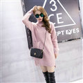 Winter Fashion Dresses Female Turtleneck Slim Split Turtle Neck Long Sleeve - Pink