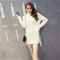 Winter Fashion Dresses Female Turtleneck Slim Split Turtle Neck Long Sleeve - White