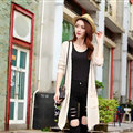 Winter Fashion Sweater Cardigan Coat Female Long Pockets - White