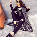 Winter Fashion Sweater Cardigan Coat Female Peacock Coat Open Stitch Thick - Black