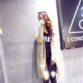 Winter Fashion Sweater Cardigan Coat Women Loose Thin Thick V-Neck Button - Beige