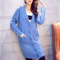 Winter Fashion Sweater Cardigan Coat Women Loose Thin Thick V-Neck Button - Blue