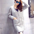 Winter Fashion Sweater Cardigan Coat Women Loose Thin Thick V-Neck Button - Grey