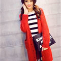 Winter Fashion Sweater Cardigan Coat Women Loose Thin Thick V-Neck Button - Red