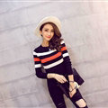 Winter Fashion Sweater Female Color Stripe Flat Knitted Short Full Sleeve - Black