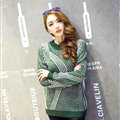 Winter Fashion Sweater Female Loose Bat Sleeve Hollow Stripe Thick - Green