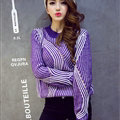 Winter Fashion Sweater Female Loose Bat Sleeve Hollow Stripe Thick - Purple