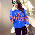 Winter Fashion Sweater Female Tassel Patchwork Hand Knitted Color Mosaic - Blue