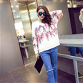 Winter Fashion Sweater Female Tassel Patchwork Hand Knitted Color Mosaic - White