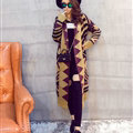 Winter Fashion Sweater Slim Female Cardigan Coat Street Tide Geometric - Orange