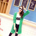 Winter Loose Sweater Cardigan Coat Flat Knitted V-Neck - Green