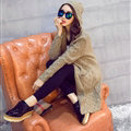 Winter Sweater Cardigan Coat Girls Long Hooded Collar Pockets Thick - Khaki