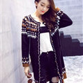 Winter Sweater Cardigan Coat Long Neck Female Stitching Thick Warm Button - Black