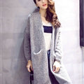 Winter Sweater Cardigan Coat Loose Thin Flat Knitted Solid Long - Grey