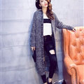 Winter Sweater Cardigan Hand Knitted Female Long Street Fashion Warm Pocket - Grey