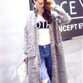 Winter Sweater Cardigan Hand Knitted Female Long Street Fashion Warm Pocket - Khaki