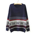 Winter Sweater Cotton Women Round Collar Snow Flower Loose Knitted Pullover - Blue