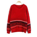 Winter Sweater Cotton Women Round Collar Snow Flower Loose Knitted Pullover - Red
