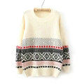 Winter Sweater Cotton Women Round Collar Snow Flower Loose Knitted Pullover - White