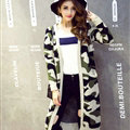 Winter Sweater Fashion Camo Cardigan Girls Long Slim All-Match Tide - Green