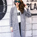 Winter Sweater Fashion Cardigan Female Coat Flat Knitted Long Thick Warm Loose - Dark Grey