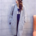 Winter Sweater Fashion Cardigan Female Coat Flat Knitted Long Thick Warm Loose - Grey